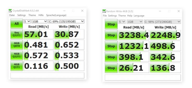 Sự khác biệt về tốc độ giữa máy tính xách tay HP cũ có ổ cứng HDD (bên trái) và MacBook Pro mới hơn có ổ SSD (bên phải)